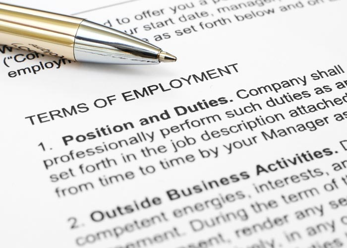 Terms of Employment section