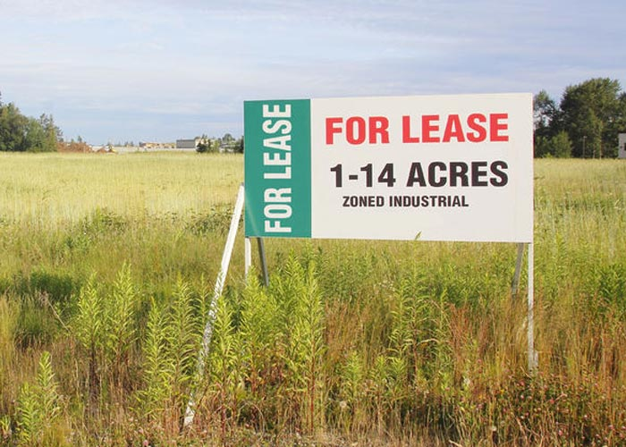 For Lease sign on land